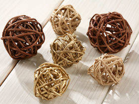 Rattan balls, diameter 3-4 cm, 12 pcs/pkg, gold-brown-natural