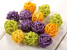 Rattan balls, diameter 3 cm, 12 pcs/pkg, mix yellow-green-purple