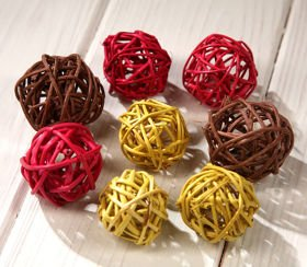 Rattan balls, diameter 3 cm, orange, 36 pcs/pkg