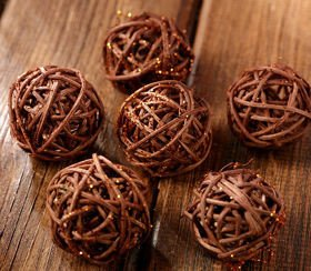 Rattan balls, diameter 4 cm, 6 pcs/pkg, glittered, brown