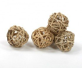 Rattan balls, diameter 4 cm, natural colour, 6 pcs/pkg