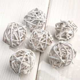 Rattan balls, diameter 4 cm, orange, 12 pcs/pkg