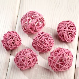 Rattan balls, diameter 4 cm, yellow, 12 pcs/pkg