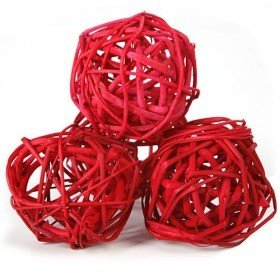 Rattan balls, diameter 5-6 cm, 6 pcs/pkg, red