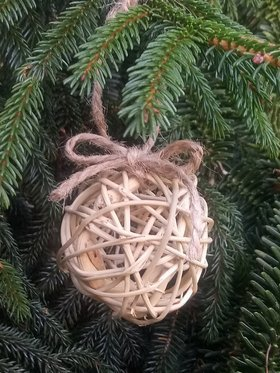 Rattan bauble, diameter 5 cm. Christmas tree pendant, DIY Christmas decoration