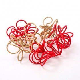 Rattan knots red-gold 10-12 cm 8 pcs/pkg
