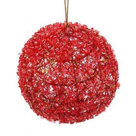Red ball with crystals, 9 cm