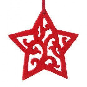Red wooden star hanger covered with suede 17 cm