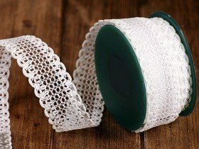 Ribbon 2.5 cm/2.5m - white lace