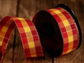 Ribbon 4cm/ 3yd chcecker- orange shadings