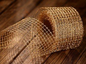 Ribbon, gold mesh, 5 cm, length 5 m