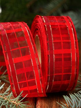 Ribbon woven, translucent 4cm /2. 5m red