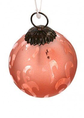 Rose-pink ball with ornament, 7 cm