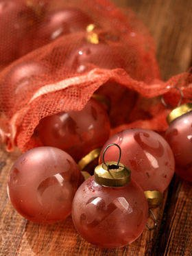 Rose-pink balls with retro ornament, 3,5 cm, 10 pcs/pkg