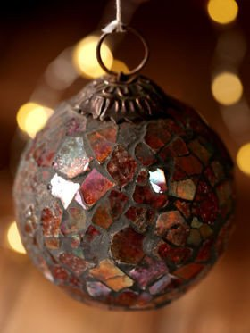 Rose-pink glass ball, mosaic, 7 cm