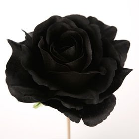 Rose unfolded head BLACK 12 cm 3 pcs / pack