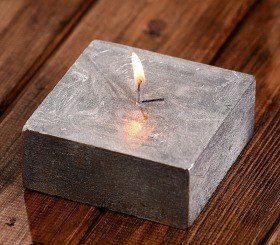 Rustic candle 40/100/100mm silver