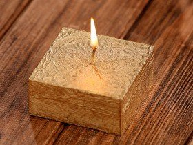 Rustic candle 70/70mm gold