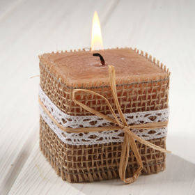 Rustic candle in jute - 60/60 mm
