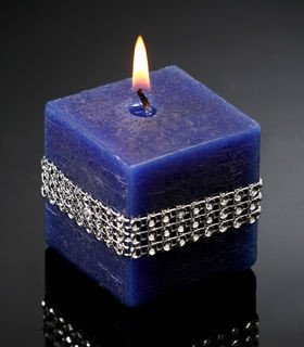 Rustic candle with diamonds navy blue 50/50 mm