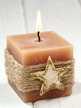 Rustical candle with birch star, 60/60 mm