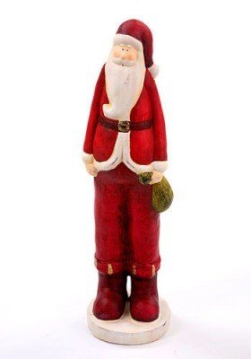Santa Claus with green sack 16 cm