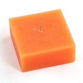 Scented rustic candle, cube, 10/10 cm - bright orange