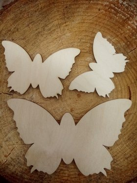 Self-adhesive wooden butterflies, pack of 3