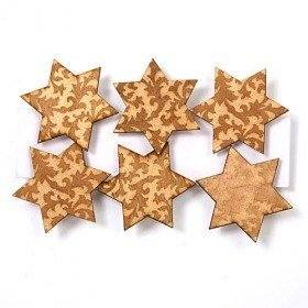 Set - 6 wooden stars on clamps 4.5