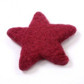 Set of 2 felt stars 12 cm, fuchsia