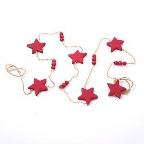 Set of 2 garlands stars claret on string 2 x 150 cm