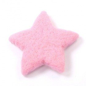 Set of 2 pink felt stars 12 cm