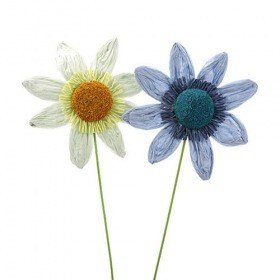 Set of 4 paper sunflowers, blue/green