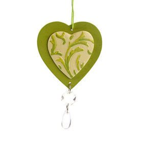 Set of 6 decoration hearts, Christmas tree, star 6,5 cm green