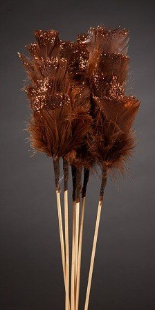 Set of 6 glittered  feathers on sticks  34cm brown