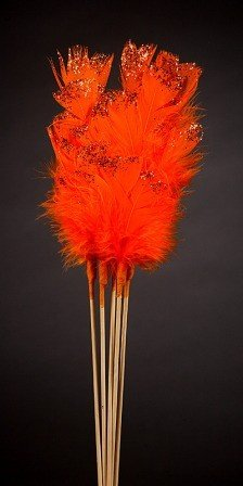 Set of 6 glittered  feathers on sticks  34cm orange