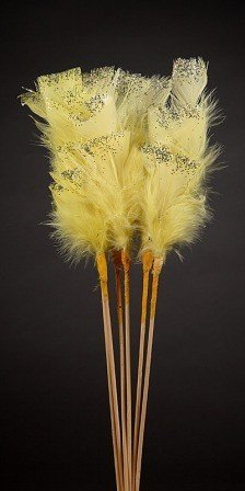 Set of 6 glittered  feathers on sticks  34cm yellow