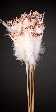 Set of 6 gold glittered white feathers on sticks  34cm