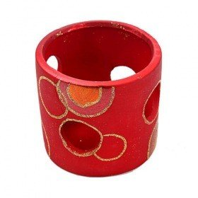 Set of red candle holders 8.5 cm 2 / set