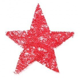 Set of sisal, glittered stars, 12 pcs/pkg, 12 cm, claret