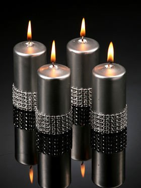 Silver candle with diamonds 40 / 60 mm