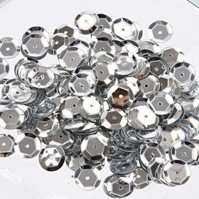 Silver sequins, 8 mm, ca. 10 g