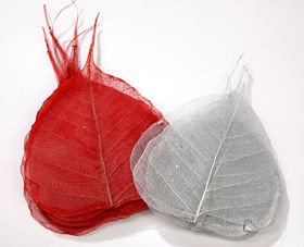 Skeleton leaves, 15-20 cm red-silver 30 pcs/pkg
