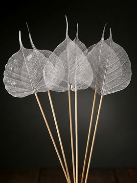 Skeleton leaves on sticks 6 pcs/pkg silver