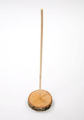 Slice of birch wood 6-8 cm with stick 40 cm