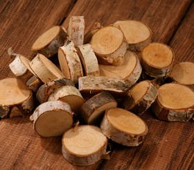Slice of birchen wood D 25-30mm   T10mm 12 pcs