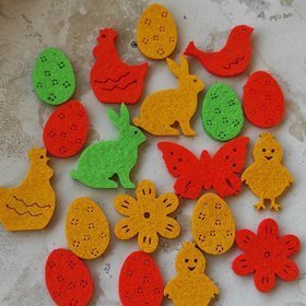 Spring figurines, felt eggs 4 cm / 18 pcs / pack mix