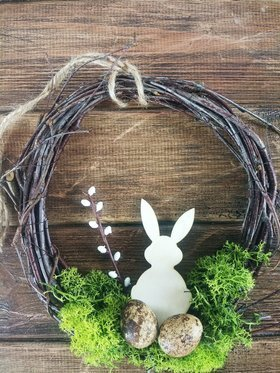 Spring wreath with 20-25 cm hare