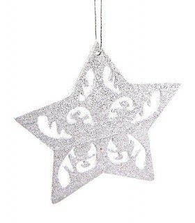 Star hanger with ornament 8 cm - 6 pcs/set