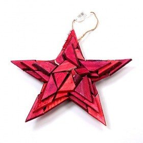 Star made of coloured wood pieces, hanger 25 cm